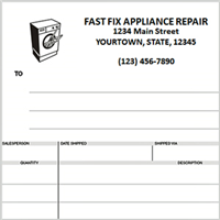 appliance repair invoices