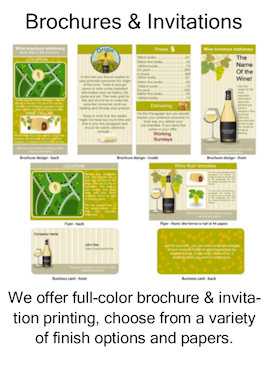 ull-color brochures, invitations, stationery printing, finish options, papers.