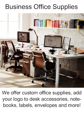 custom office supplies, logo desk accessories, notebooks, labels, envelopes