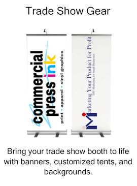 trade show booth, banners, customized tents, backgrounds