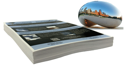 This picture shows a stack of copies printed on one side only, without bleed, that represents the package offered on this page