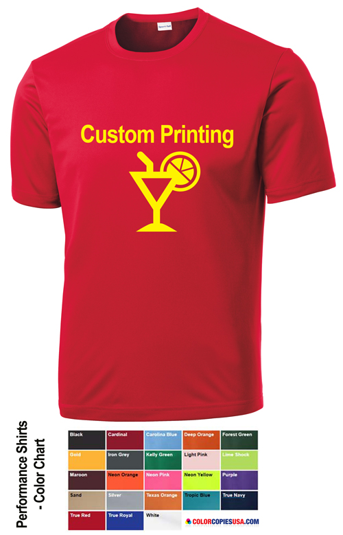 Custom t shirt printing color copies usa for Custom printed performance shirts