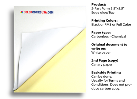 X Part NCR Carbonless Paper Two Part Business Forms - Carbonless invoices