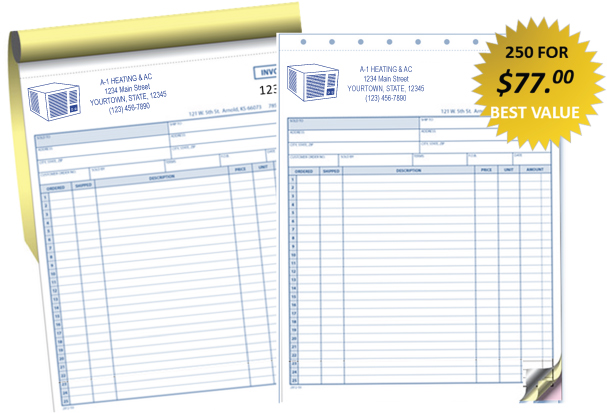 hvac service invoices custom printed. Black Bedroom Furniture Sets. Home Design Ideas