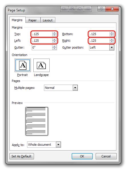 word print to pdf margins